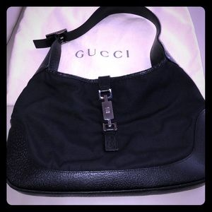 Authentic Gucci nylon and leather Jackie purse..